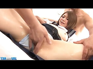 Rin Saotome swallows cum after serious Japan trheesome