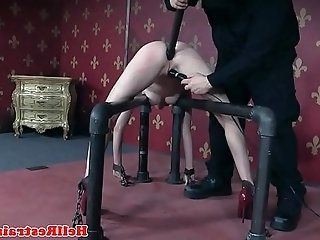 Restrained bdsm submissive asshole toyed