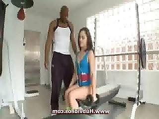 Kristina Rose fucked in gym for black
