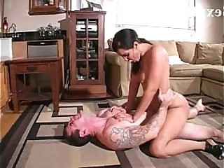 Hot mil isis love stands on a sexy guys chest and rides him dominantly
