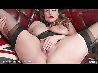 Natural big tits brunette wanks in nylon
