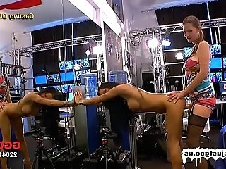 Casting girl Anna gets tested by Viktorias large strap on!