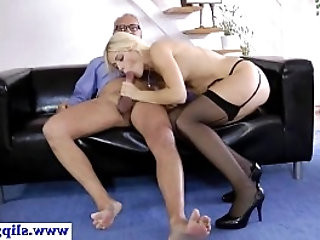 Gorgeous classy eurobabe licking up old jizz