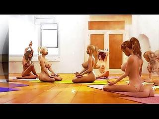 Big tits lesbian futa beauties enjoying yoga tantric sex in a cool animation
