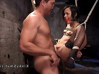Slave suffers rough anal sex in bondage
