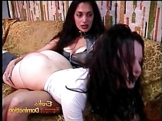 Naughty and hot BDSM lesbian session featuring two raven haired stunners