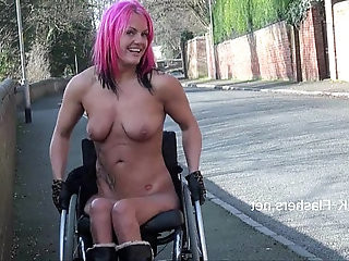Exhibitionist wheelchair babe Leah Caprice public nudity and pussy flashing