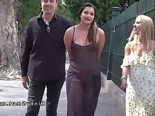 Hot slave in see through dress in public