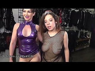 Slave in see through blouse banged in public