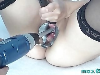 Peehole Play on camera with Drilldo and Bladder filled with Cum and Piss