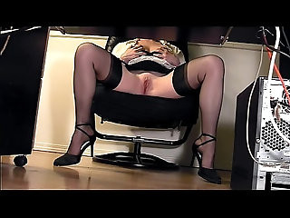 Leggy secretary under desk voyeur cam masturbation