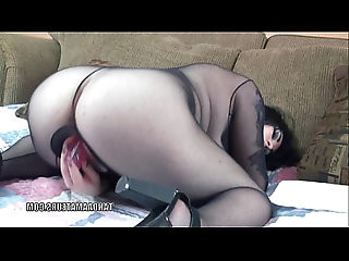 Chubby coed Christine Rhydes uses a huge dildo on her twat