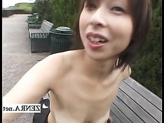 Subtitled Japanese housewife public nudity with fingering