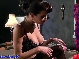 Busty lezdom ass toyed with big strapon by sub