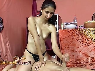 Shy Brown Girl Giving A Handjob While Facesitting