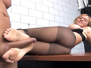 Footsex and fucking in ripped up nude pantyhose