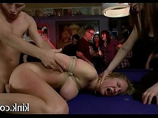 French gal tied and double penetrated